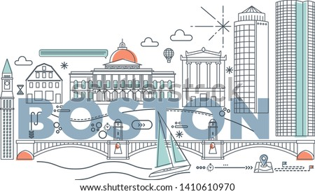 Typography word Boston branding technology concept. Collection of flat vector web icons. American culture travel set, architectures, specialties detailed silhouette. Doodle famous landmarks.