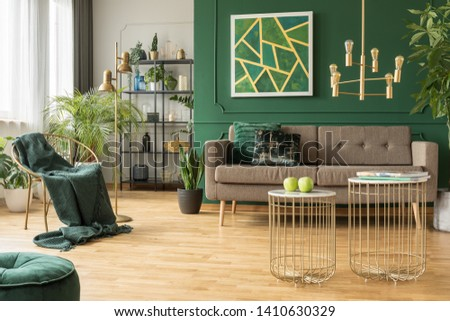 Modern gold and green living room interior design
