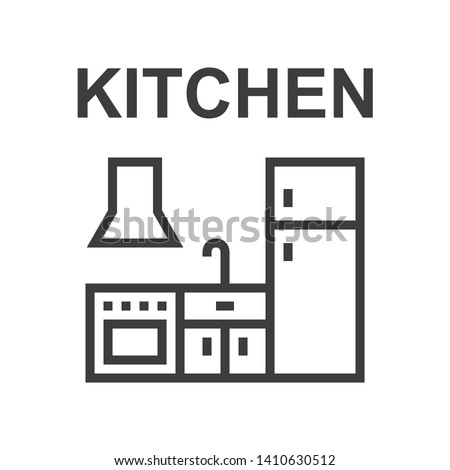Kitchen - linear vector icon Royalty-Free Stock Photo #1410630512