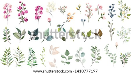 Set of floral elements. Flower and green leaves. Wedding concept - flowers. Floral poster, invite. Vector arrangements for greeting card or invitation design #1410777197