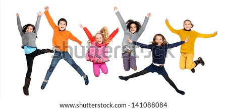 Group of children jumping isolated in white #141088084