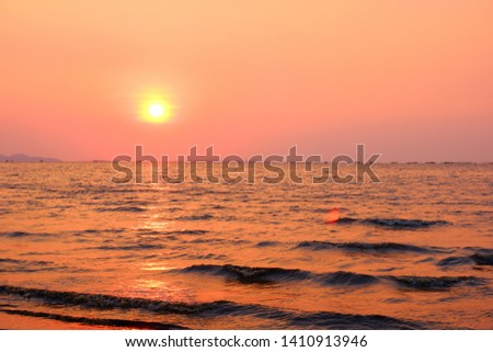 Sunset in the sea in the evening #1410913946