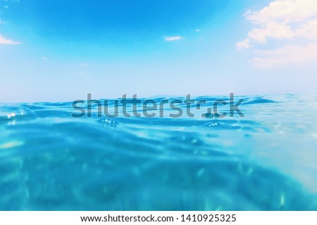 Sea wave close up, low angle view water background #1410925325