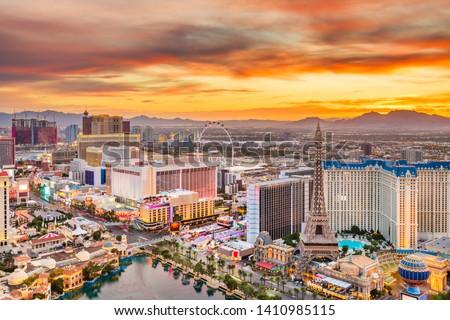 Las Vegas, Nevada, USA skyline over the strip at dusk. #1410985115