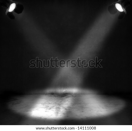 Two spotlights shining on a grungy floor in a room #14111008