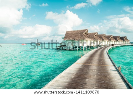 tropical Maldives and island with beach and sea for holiday vacation concept - boost up color processing style #1411109870