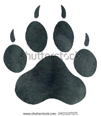 Watercolor Tiger Paw Print Illustration, Tiger Paw Print Clipart