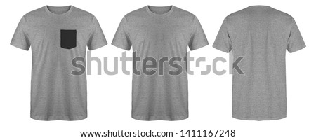 Blank t shirt set bundle pack. Heather grey t shirt isolated on white background with three different style, suitable for mock up or presentation your project. #1411167248