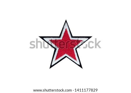 red star embroidered badge isolated #1411177829