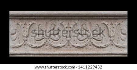 elements of architectural decorations of buildings, moldings and arches on the streets in Catalonia, public places. #1411229432
