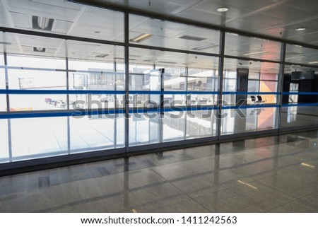 Istanbul, Turkey - May 04 2019: Sabiha Gokcen International Airport,airport lounge with large glass windows #1411242563