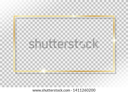 shiny gold frame with glow shine flare effect and drop shadow on transparent background. vintage luxury golden frame element for gift card, greeting card and celebration banner. #1411260200