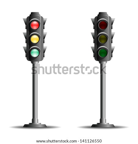 Traffic lights or stop lights (Road Signal) on a metal pole with red, yellow and green lights  - icon isolated on white background. Vector.