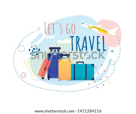 Promotional Banner with Cartoon Tourists Bags and Airplane Taking Off. Lets Go Travel Motivational Title. Tourism and Summer Vacation. Vector Illustration in Flat Design. Trip around World #1411284116