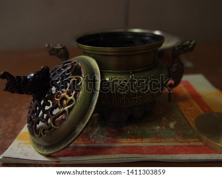 Dark Bronze Chinese Style Incense Burner On the Altar , Incense Pot #1411303859