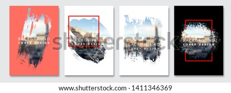 Vector paint brush clipping masks for flyer, presentation, brochure, banner, poster design. City blur background. #1411346369