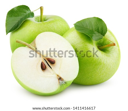 Group of ripe green apple fruits with half and green leaves isolated on white background. Apples with clipping path. Full Depth of Field #1411416617