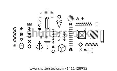 Set of vector geometric shapes. Trendy graphic elements for your unique design. #1411428932