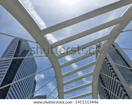 Bangkok Sathorn Skywalk district with high building,Thailand on May 29 ,2019. #1411515446