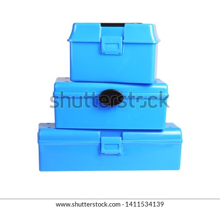 Threee Plastic Storage Boxes on White Background #1411534139