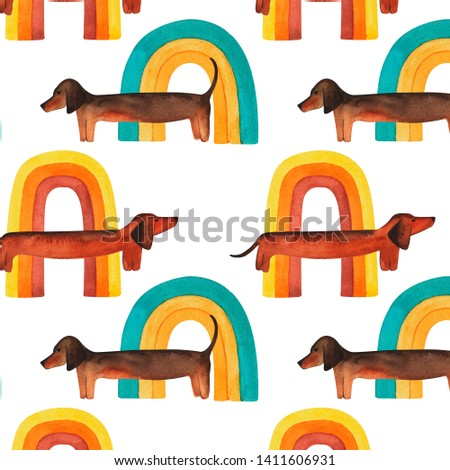 Watercolor pattern with dachshund dogs and rainbows, watercolor hand drawing, dachshund on isolated white background