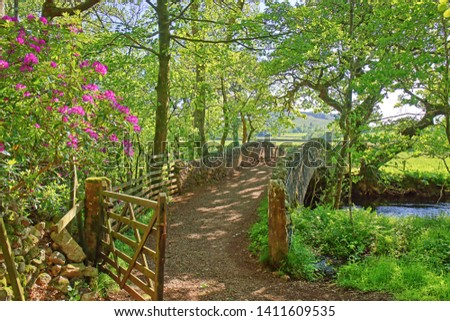 An ancient stone pack horse bridge over a river in the English Lake District #1411609535
