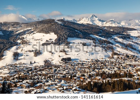 Aerial View on Ski Resort Megeve in French Alps, France #141161614