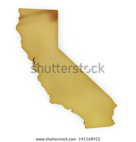 The photorealistic golden shape of California isolated on white (series) . The rendering even has tiny scratches