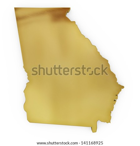 The photorealistic golden shape of Georgia USA isolated on white (series) . The rendering even has tiny scratches