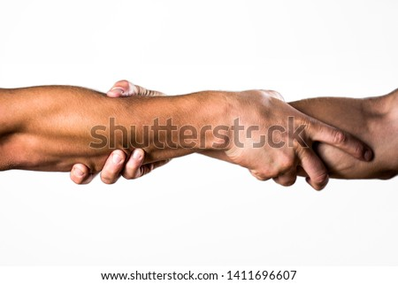 Helping hand concept and international day of peace, support. Helping hand outstretched, isolated arm, salvation. Rescue, helping gesture or hands. Two hands, helping arm of a friend, teamwork. #1411696607