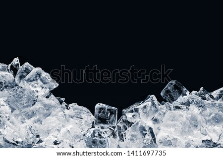 Pieces of crushed ice cubes on black background. #1411697735