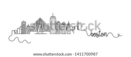 Boston City Skyline Doodle Sign