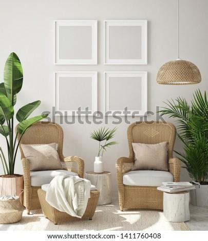 mock up poster frame in living room interior background, Boho style, 3D render, 3D illustration #1411760408