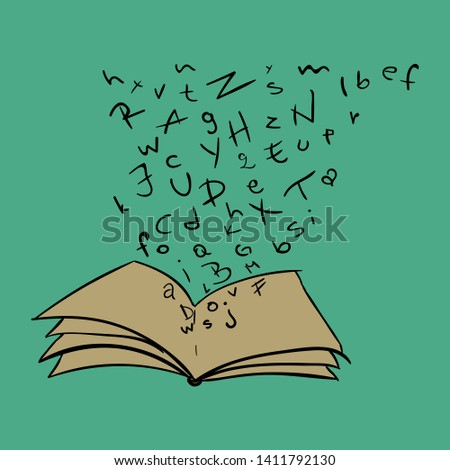 illustration, book, letters, hand drawn #1411792130