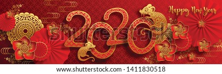 Chinese new year 2020 year of the rat , red and gold paper cut rat character, flower and asian elements with craft style on background. (Chinese translation : Happy chinese new year 2020, year of rat) #1411830518