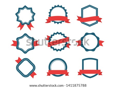 Ribbons and labels. Design elements, red and blue. Set of emblem, sticker and badges stock vector illustration. #1411875788
