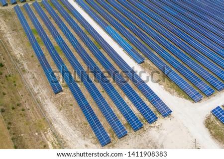 Aerial view of solar farm in Florida #1411908383