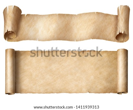 Narrow paper or parchment scrolls set isolated on white #1411939313