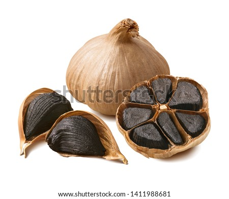 Tasty black garlic isolated on white background. Package design element with clipping path Royalty-Free Stock Photo #1411988681