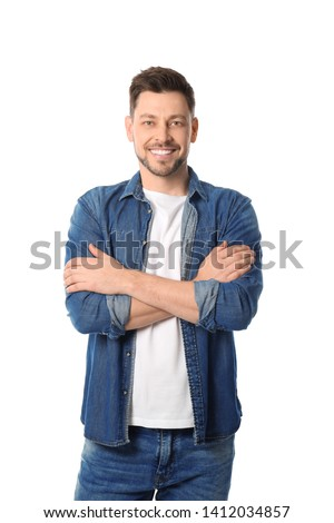 Portrait of handsome man posing on white background #1412034857