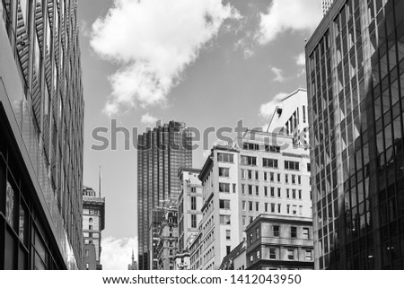 Black and white picture of New York City diverse architecture, USA.