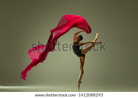Graceful ballet dancer or classic ballerina dancing isolated on grey studio background. Woman with the pink silk cloth. The dance, grace, artist, contemporary, movement, action and motion concept. #1412088293