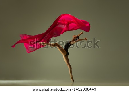 Graceful ballet dancer or classic ballerina dancing isolated on grey studio background. Woman with the pink silk cloth. The dance, grace, artist, contemporary, movement, action, motion concept. #1412088443
