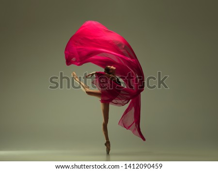 Graceful ballet dancer or classic ballerina dancing isolated on grey studio background. Woman with the pink silk cloth. The dance, grace, artist, contemporary, movement, action and motion concept. #1412090459