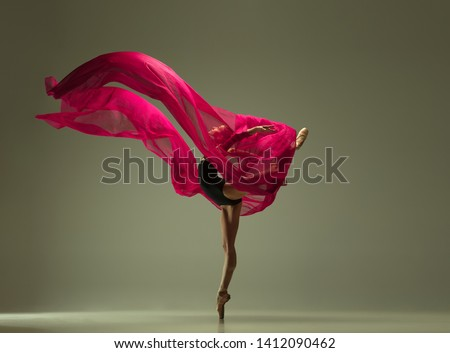 Graceful ballet dancer or classic ballerina dancing isolated on grey studio background. Woman with the pink silk cloth. The dance, grace, artist, contemporary, movement, action and motion concept. #1412090462