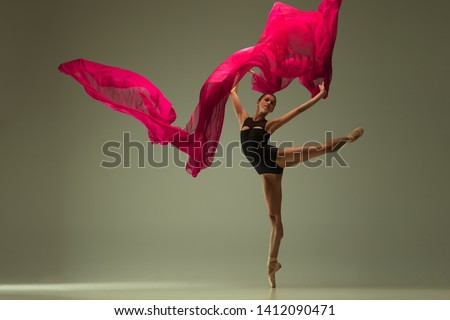 Graceful ballet dancer or classic ballerina dancing isolated on grey studio background. Woman with the pink silk cloth. The dance, grace, artist, contemporary, movement, action and motion concept. #1412090471