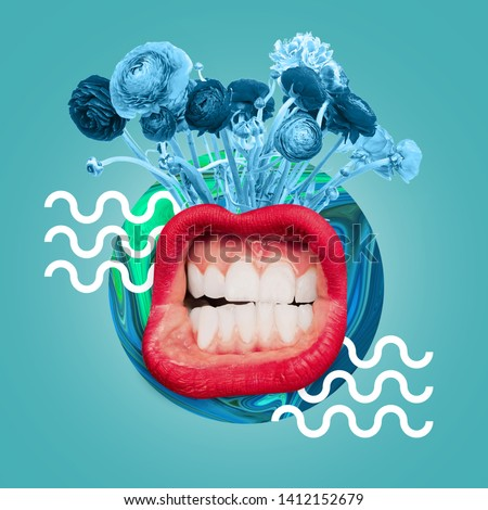 Big female mouth with the white teeth and red lips. Blue flowers and drawn waves against ocean blue background. Negative space to insert your text. Modern design. Contemporary art collage. #1412152679