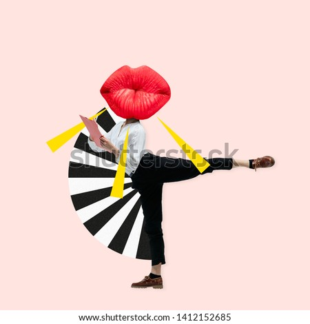 Dancing office woman in classic suit like a ballet dancer headed by the big red female lips against trendy coral background. Negative space to insert your text. Modern design. Contemporary art collage #1412152685