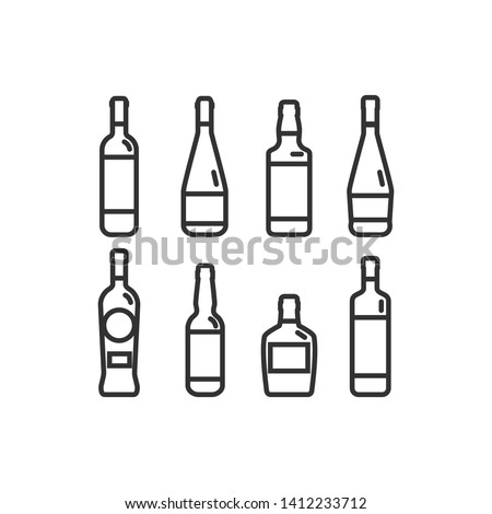 Linear illustration of a bottle of alcohol #1412233712