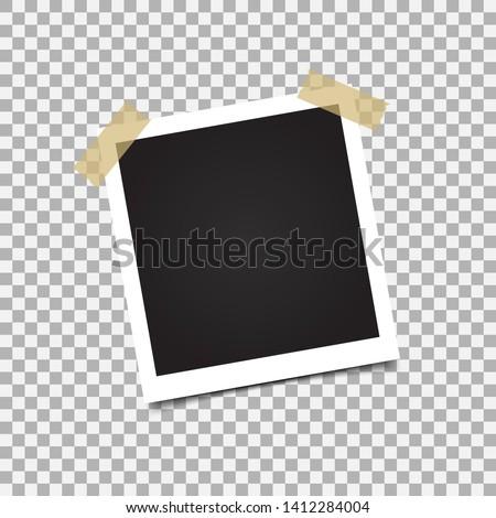Photo frame mockup design. White border on a transparent background #1412284004